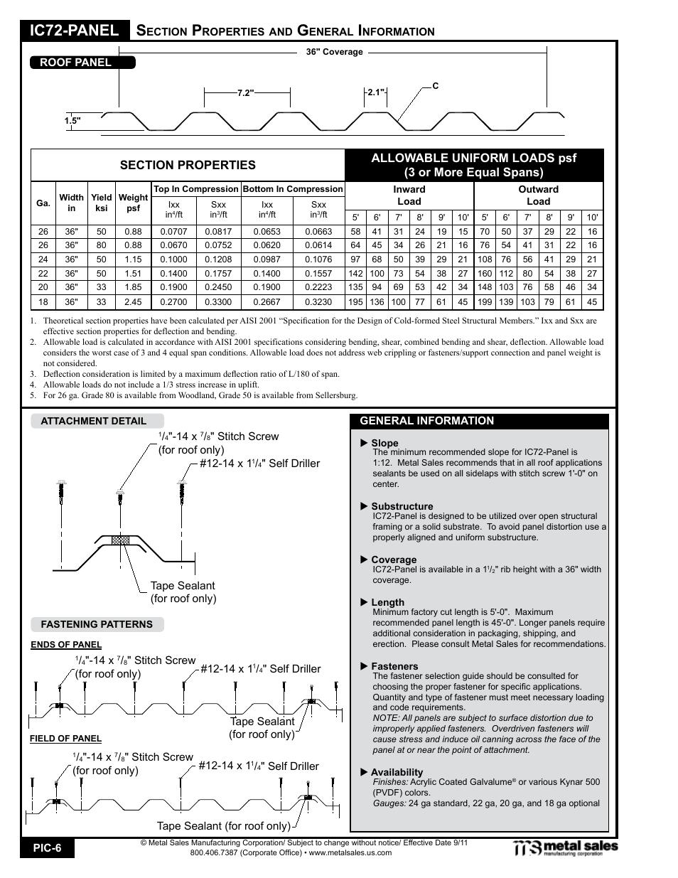 Ic72-panel   Metal Sales IC72-Panel User Manual   Page 6 / 16