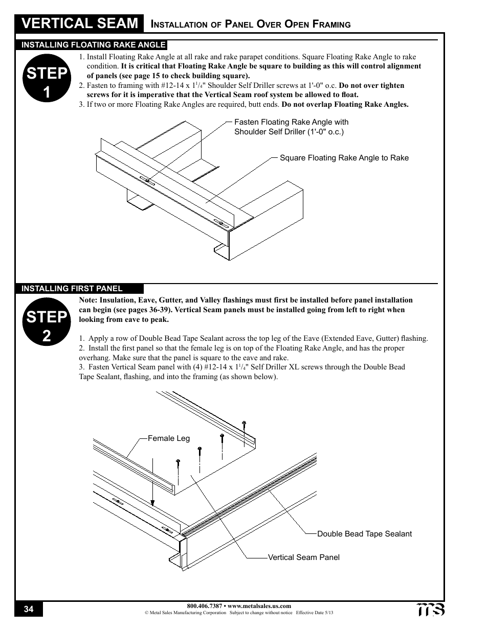 Step 1 step 2, Vertical seam | Metal Sales Vertical Seam