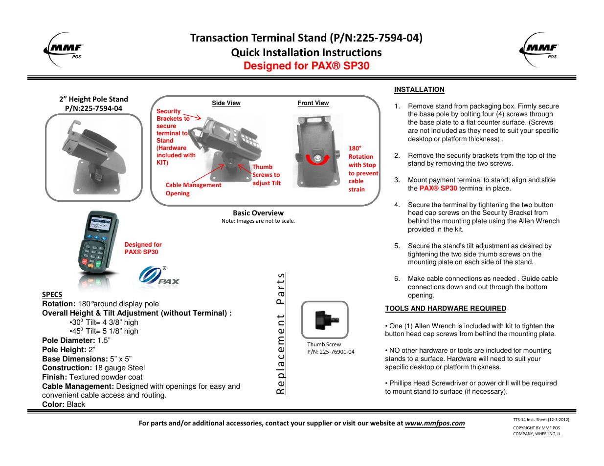 mmf pos pax sp30 transaction terminal stand user manual 1 page rh manualsdir com pax assembly manual pax era instruction manual