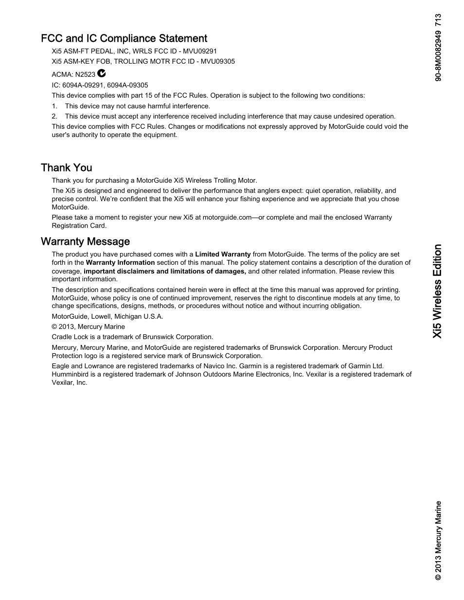 MotorGuide Xi5 Wireless Trolling Motor User Manual | 38 pages