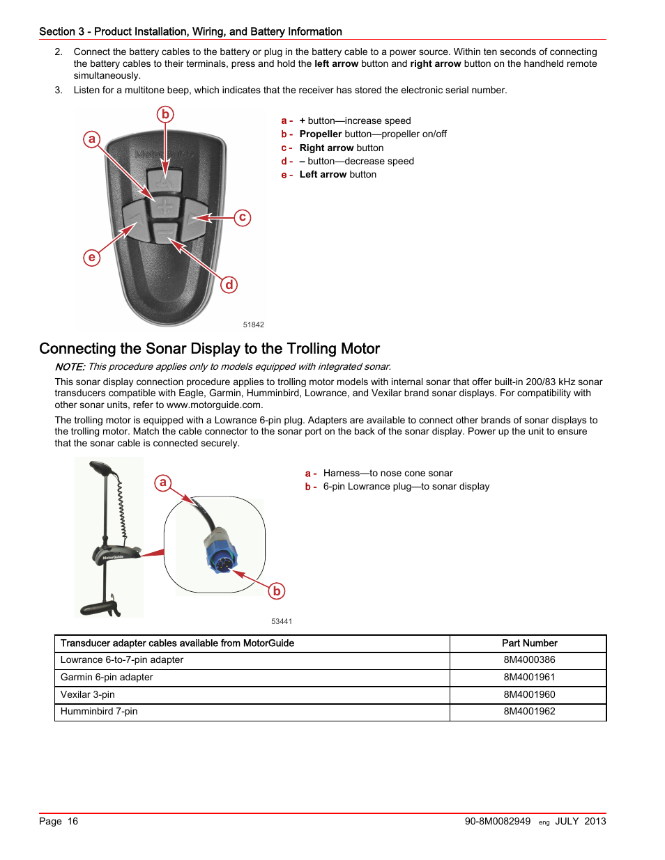 Connecting the sonar display to the trolling motor, Ba c d e | MotorGuide  Xi5 Wireless Trolling Motor User Manual | Page 20 / 38