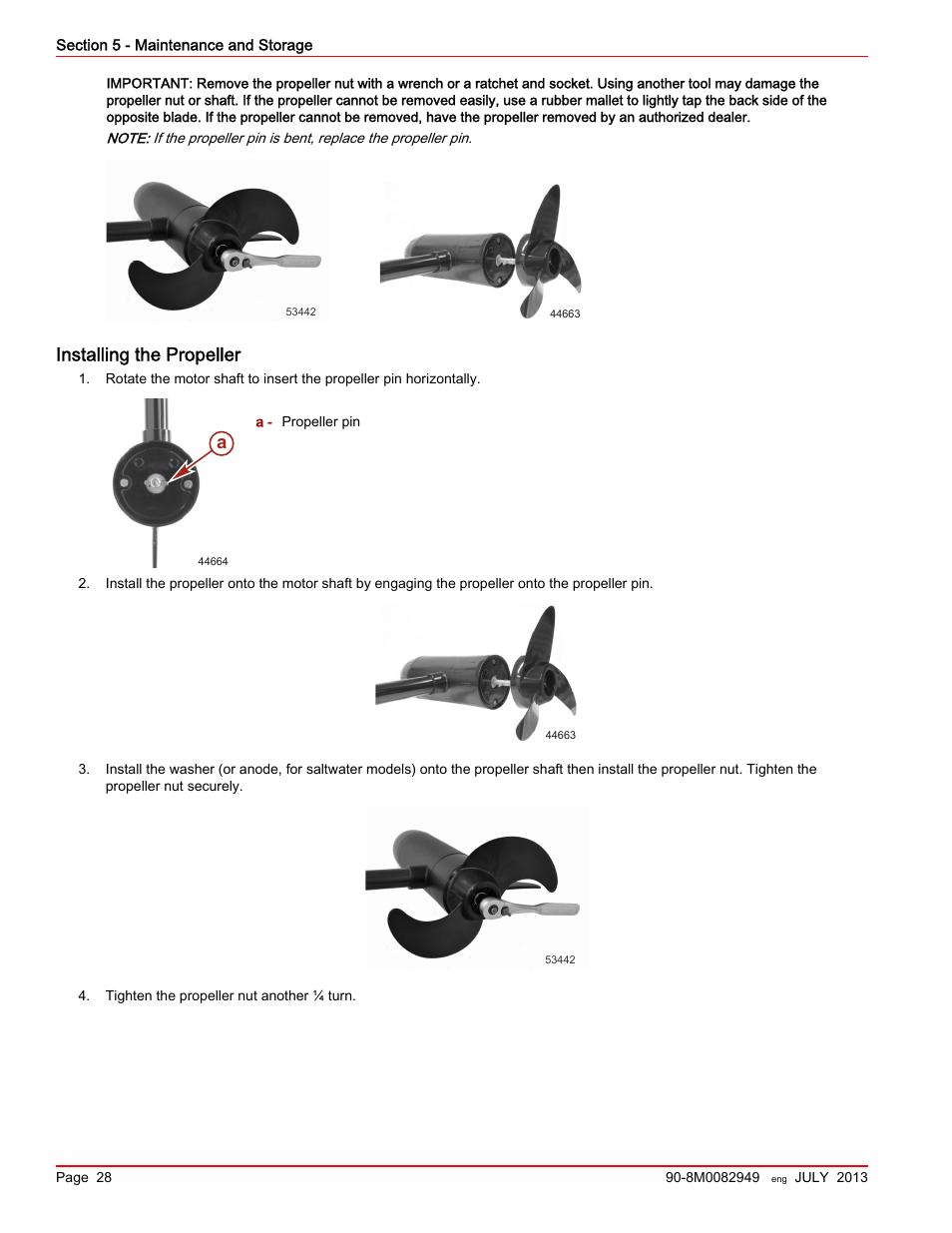 Installing the propeller | MotorGuide Xi5 Wireless Trolling
