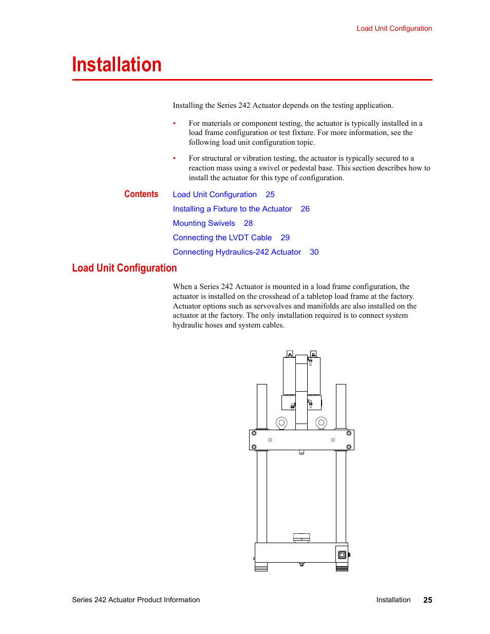 Installation, Load unit configuration, Installation 25 | MTS Series 242  Actuators User Manual | Page 25 / 40