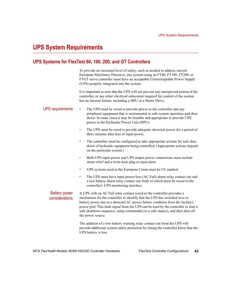 Ups system requirements, Ups system requirements 43   MTS FlexTest ...