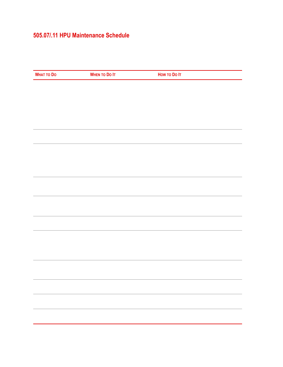 07/.11 hpu maintenance schedule, 07/.11 hpu maintenance schedule 56 | MTS  Series 505 SilentFlo Hydraulic Power Unit Model 505-11 User Manual | Page  56 / 90