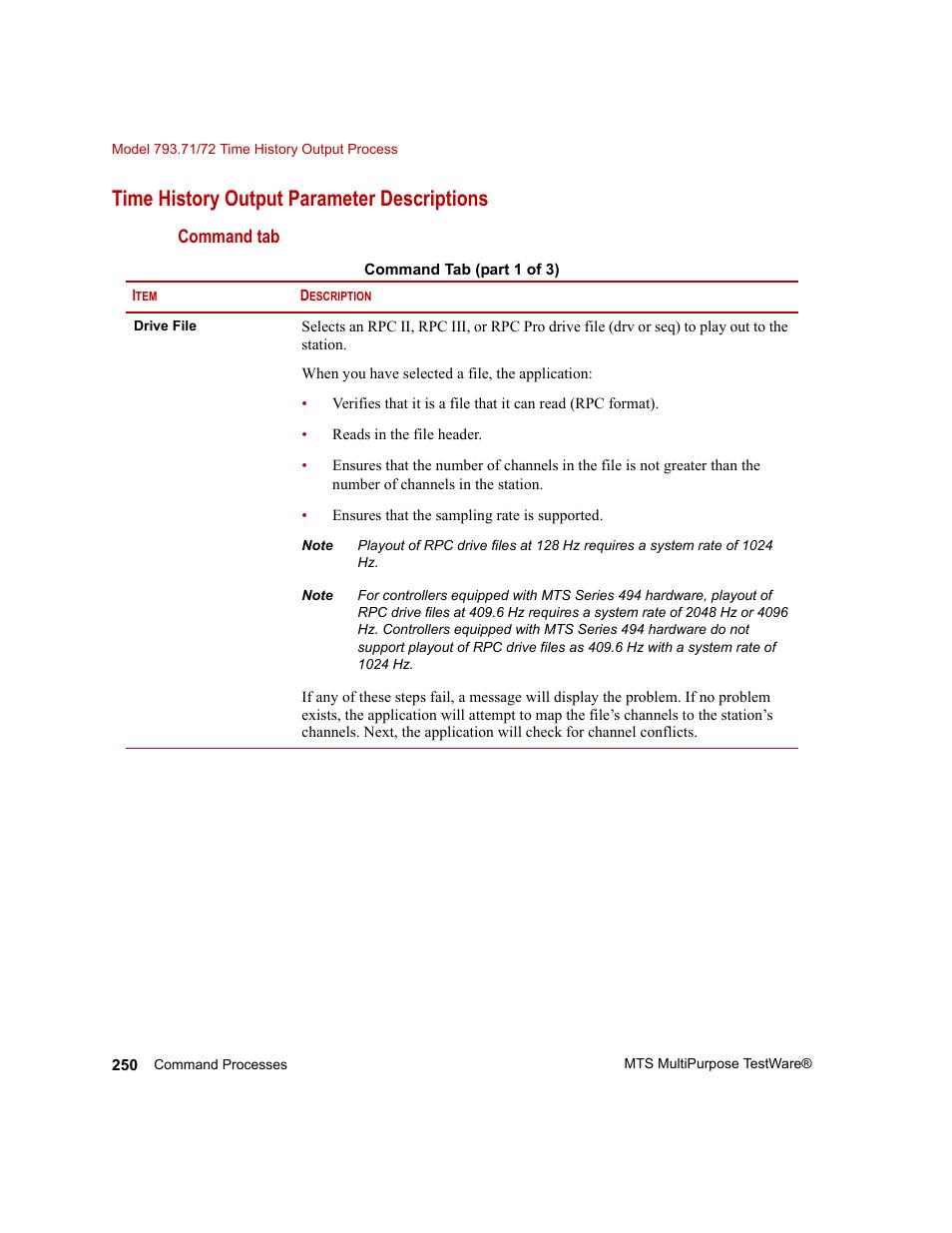 Time history output parameter descriptions   MTS Series 793
