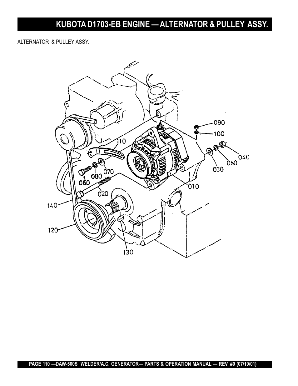 Kubota d1703-eb engine — alternator & pulley assy | Multiquip DAW500S User  Manual | Page 110 / 142