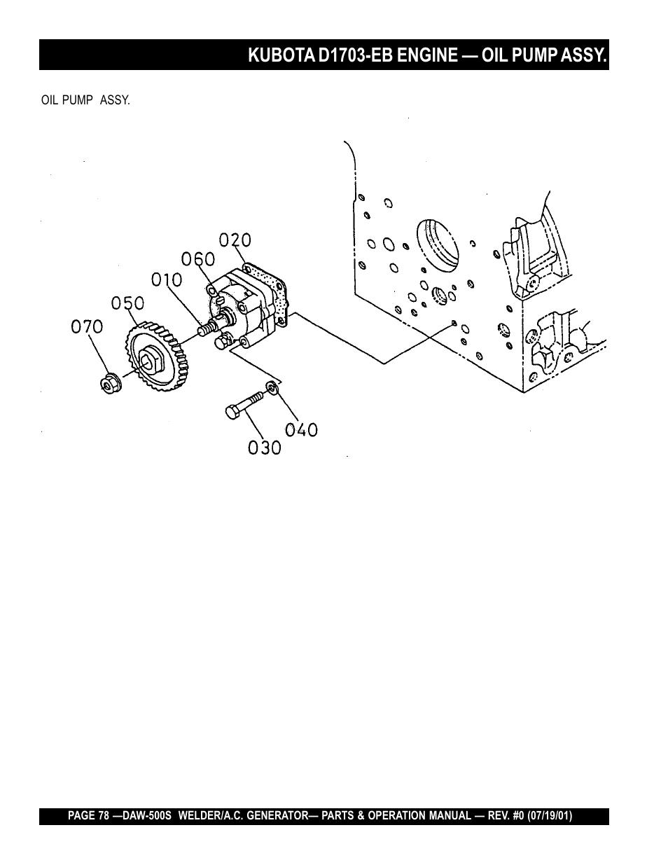 Kubota d1703-eb engine — oil pump assy | Multiquip DAW500S User Manual |  Page 78 / 142