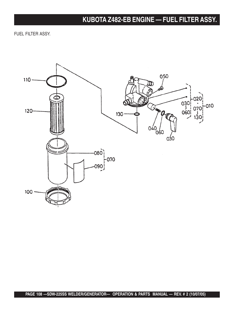 kubota z482-eb engine — fuel filter assy | multiquip sdw225ss user manual |  page 108 / 146