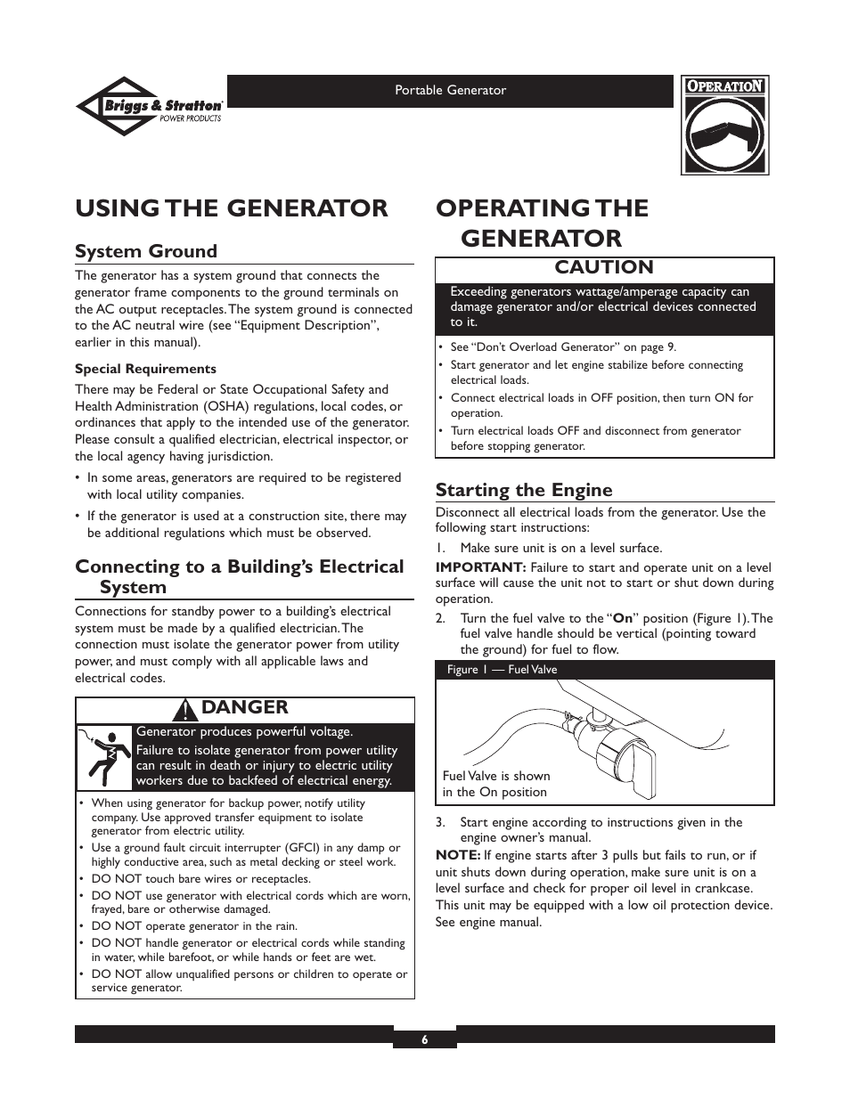 Using the generator, Operating the generator, System ground
