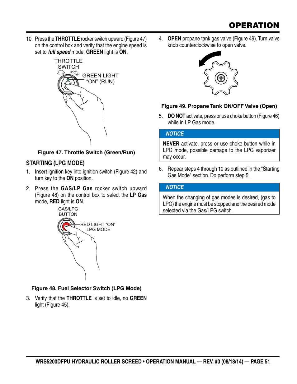 Operation   Multiquip WRS5200DFPU (KUBOTA WG972-GL-E3 DUAL FUEL) User Manual