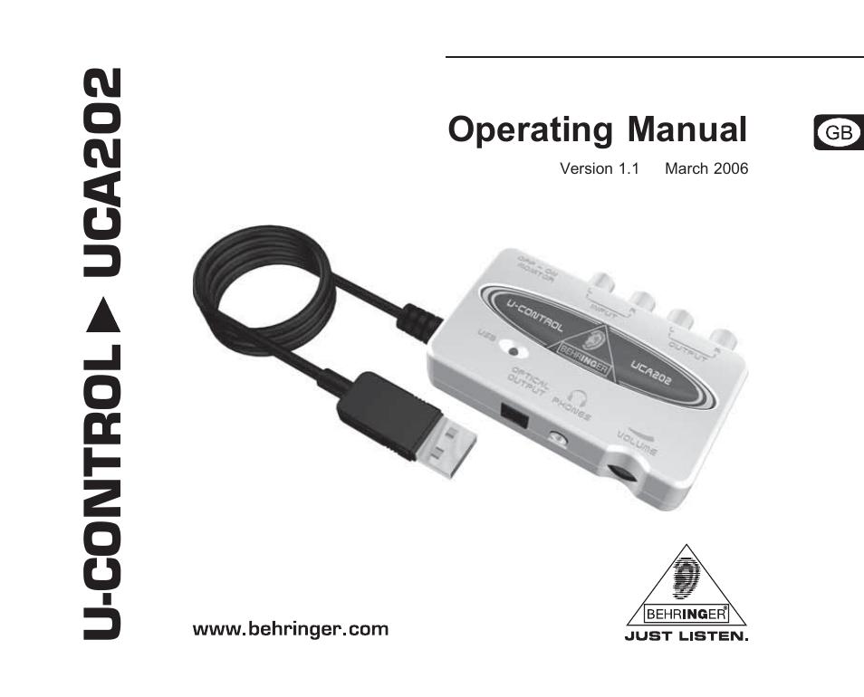 behringer uca202 user manual 22 pages rh manualsdir com Behringer Is202 Behringer Sound Card