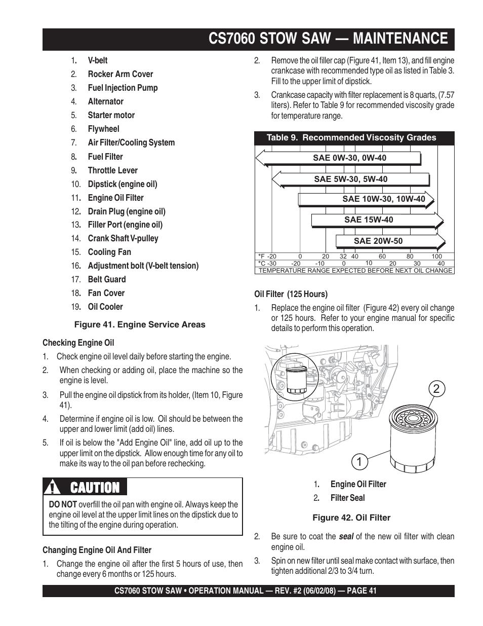 Cs7060 stow saw — maintenance, Caution | Multiquip CS706036 User Manual |  Page 41 / 66