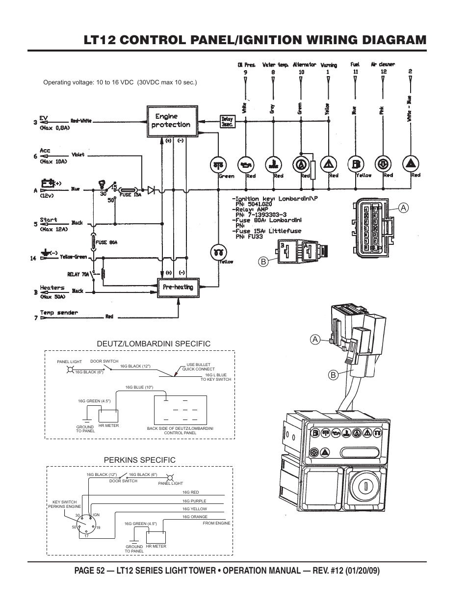 Lt12 Control Panel  Ignition Wiring Diagram  Perkins
