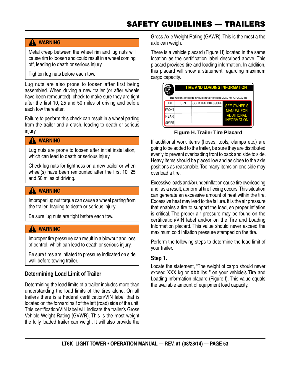 Safety guidelines — trailers | Multiquip LT6K User Manual