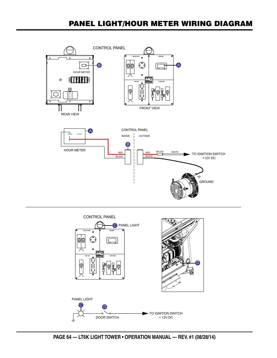 Panel light/hour meter wiring diagram, Cd d a, Control panel | Multiquip LT6K User Manual | Page 64 / 70