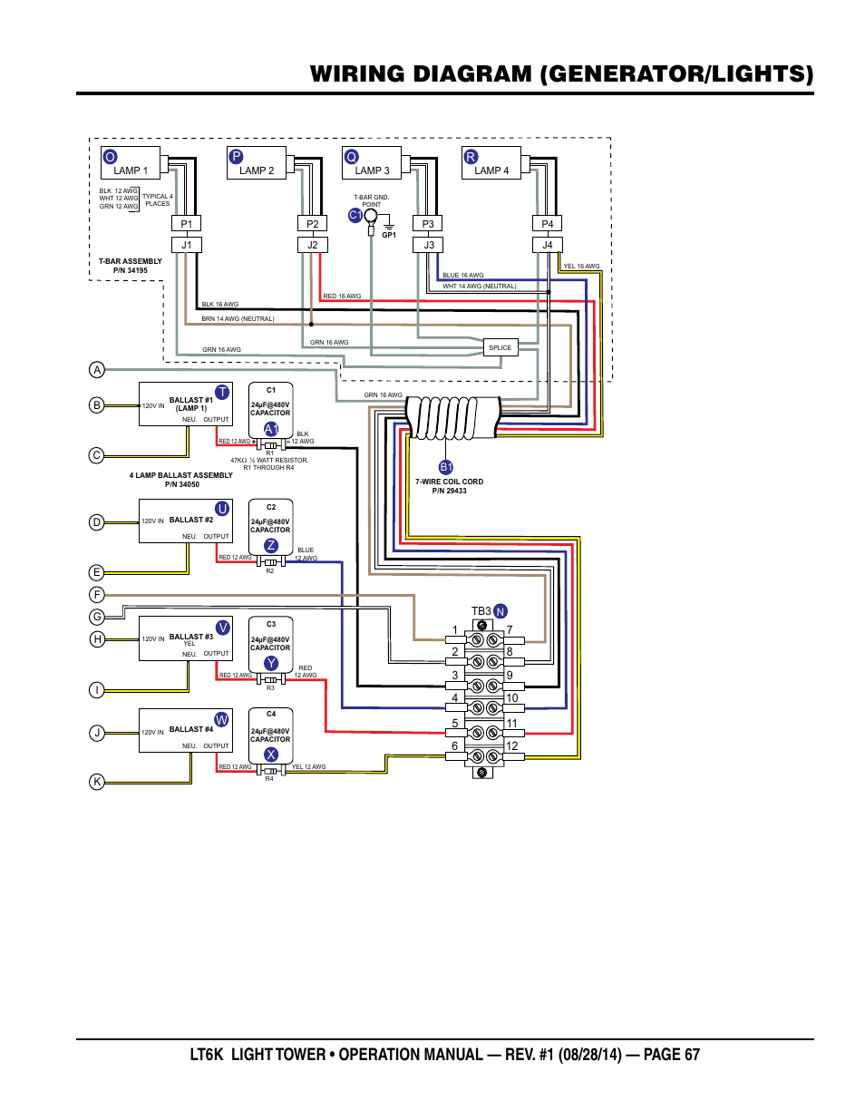 Wiring Diagram  Generator  Lights   Tu V W A1 Z