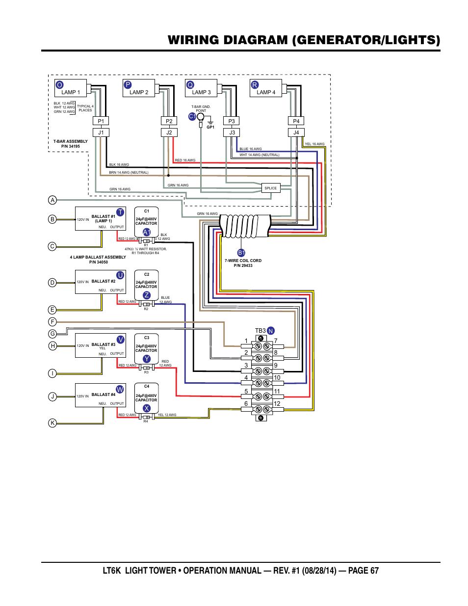 Wiring Diagram  Generator  Lights   Tu V W A1 Z