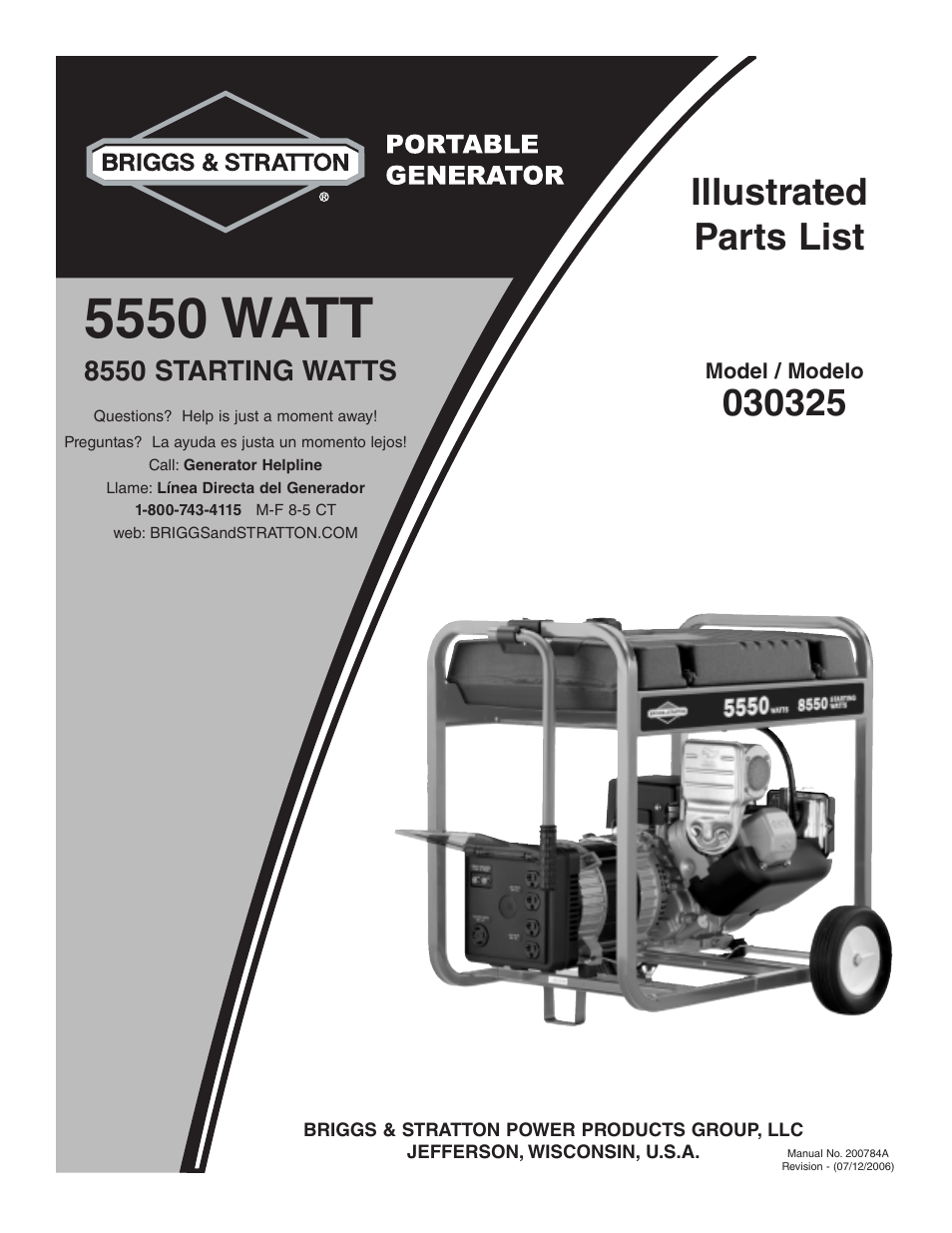 briggs stratton 030325 user manual 5 pages original mode rh manualsdir com briggs and stratton 5500 watt portable generator manual briggs and stratton wheelhouse 5550 generator parts