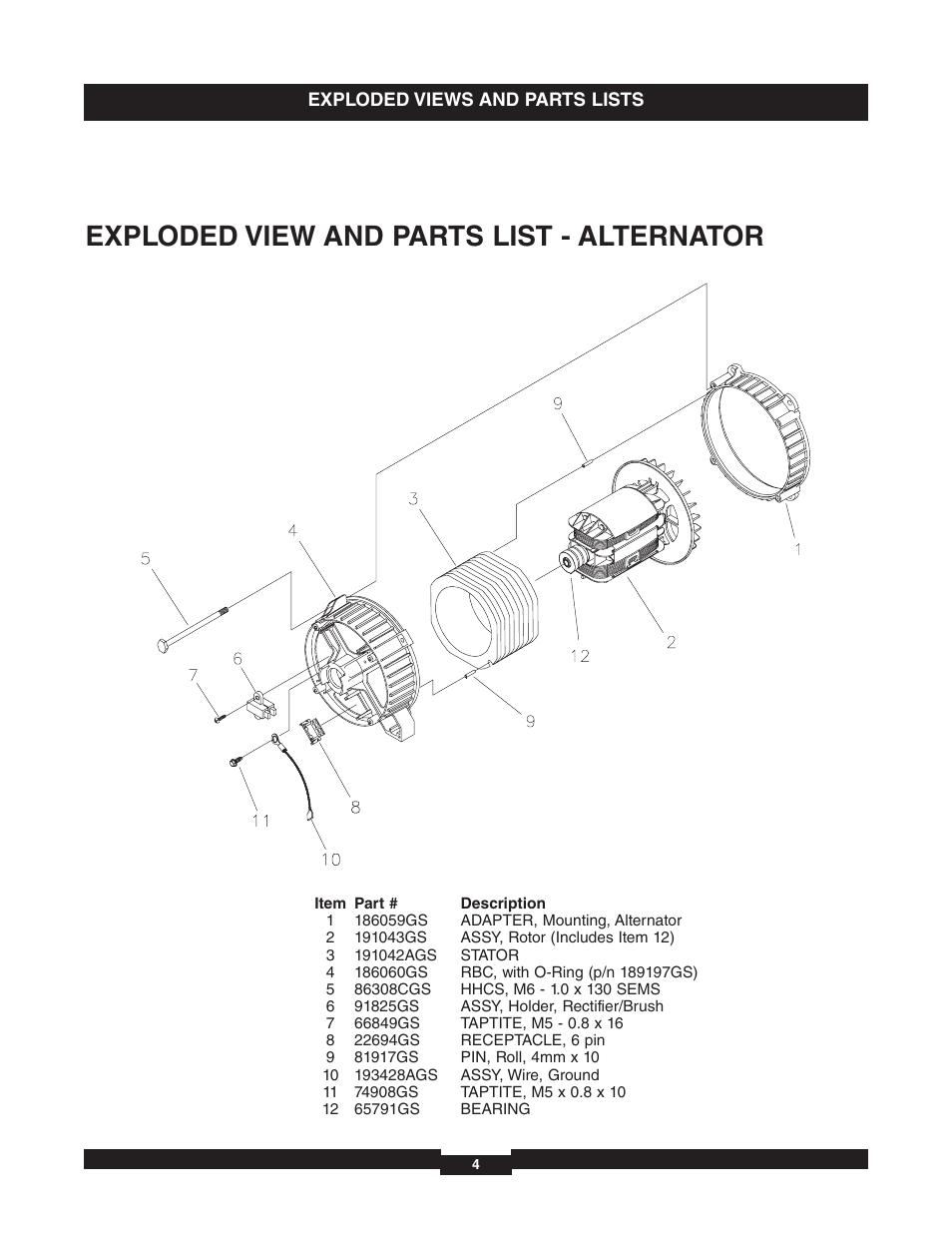 Exploded view and parts list - alternator | Briggs ... on briggs stratton gas engine diagram, briggs stratton throttle diagram, briggs stratton engine electrical diagram, briggs stratton starter diagram, briggs stratton fuel pump diagram, briggs stratton engine parts diagram, briggs stratton ignition diagram, briggs stratton carburetor linkage diagram, briggs stratton pto diagram, briggs stratton motor diagram,