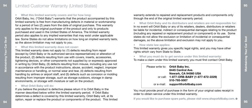 Limited Customer Warranty United States