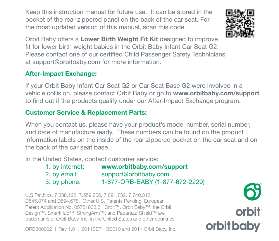 Orbit Baby Infant Car Seat G2 And Base User Manual