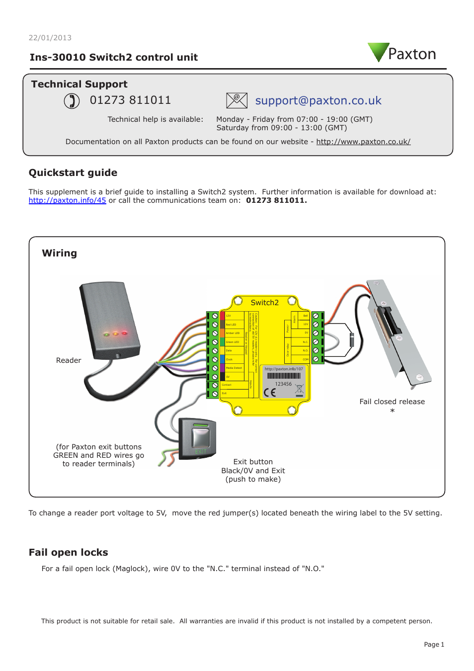Paxton Switch2 Control Unit User Manual