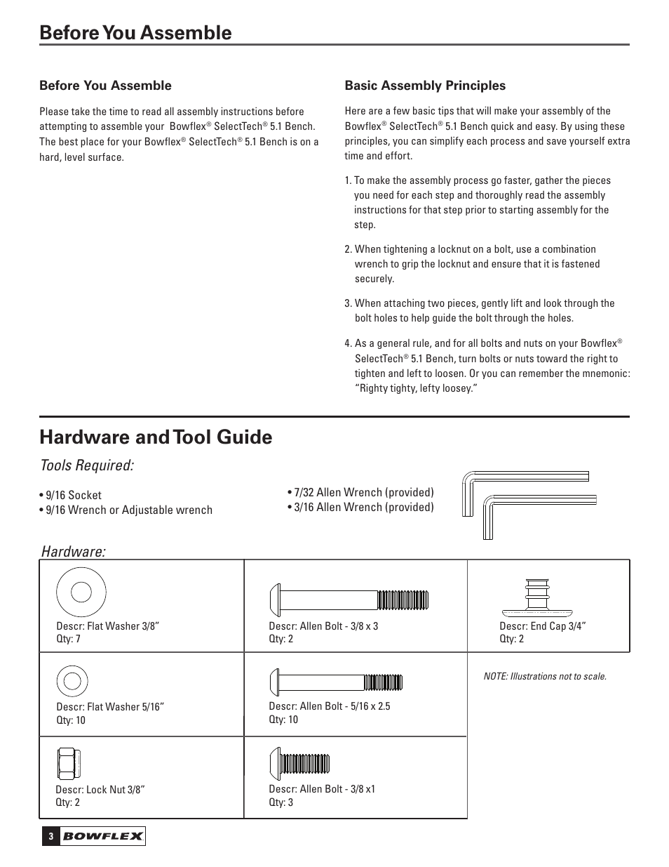 hardware and tool guide before you assemble tools required rh manualsdir com Bowflex 3 1 Exercise Bench Pictures of the Bowflex SelectTech Adjustable Bench Series 3 1