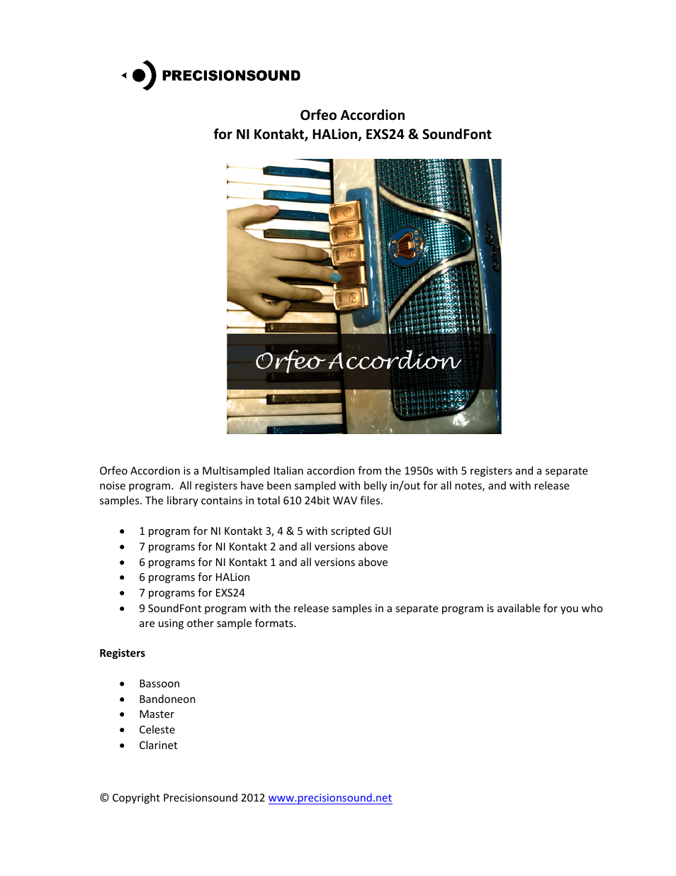 Precisionsound Orfeo Accordion User Manual | 4 pages