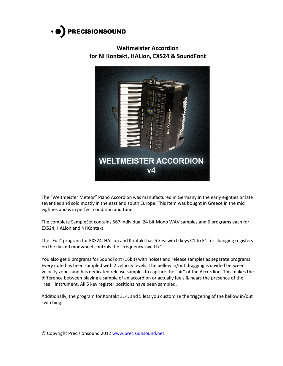 Precisionsound Weltmeister Accordion User Manual | 4 pages