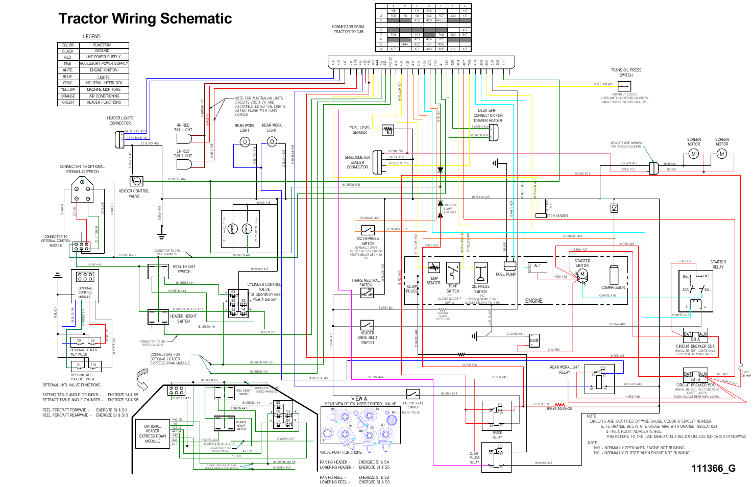 Tractor wiring schematic, Mengine, View a | MacDon 9352i SP ... on