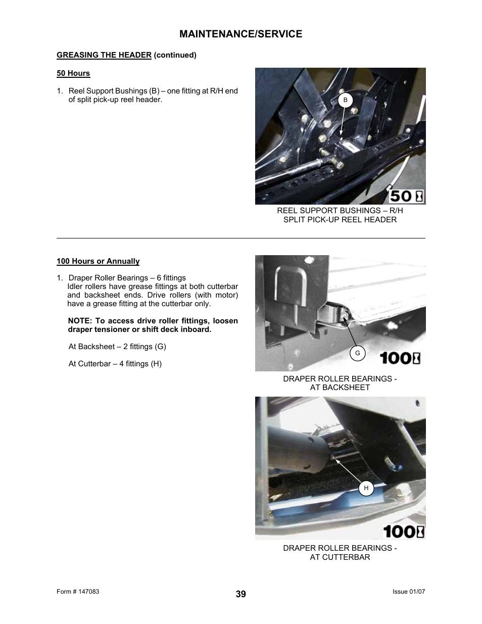 Maintenance/service | MacDon 974 FlexDraper User Manual