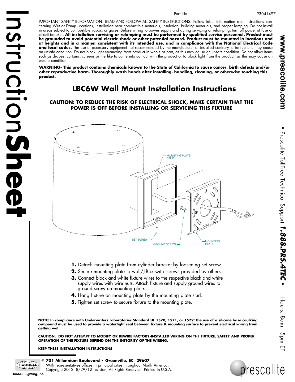 Prescolite Lbc6w Wall Mount User Manual 1 Page Installing Mounted Lighting How To Install A New Electrical