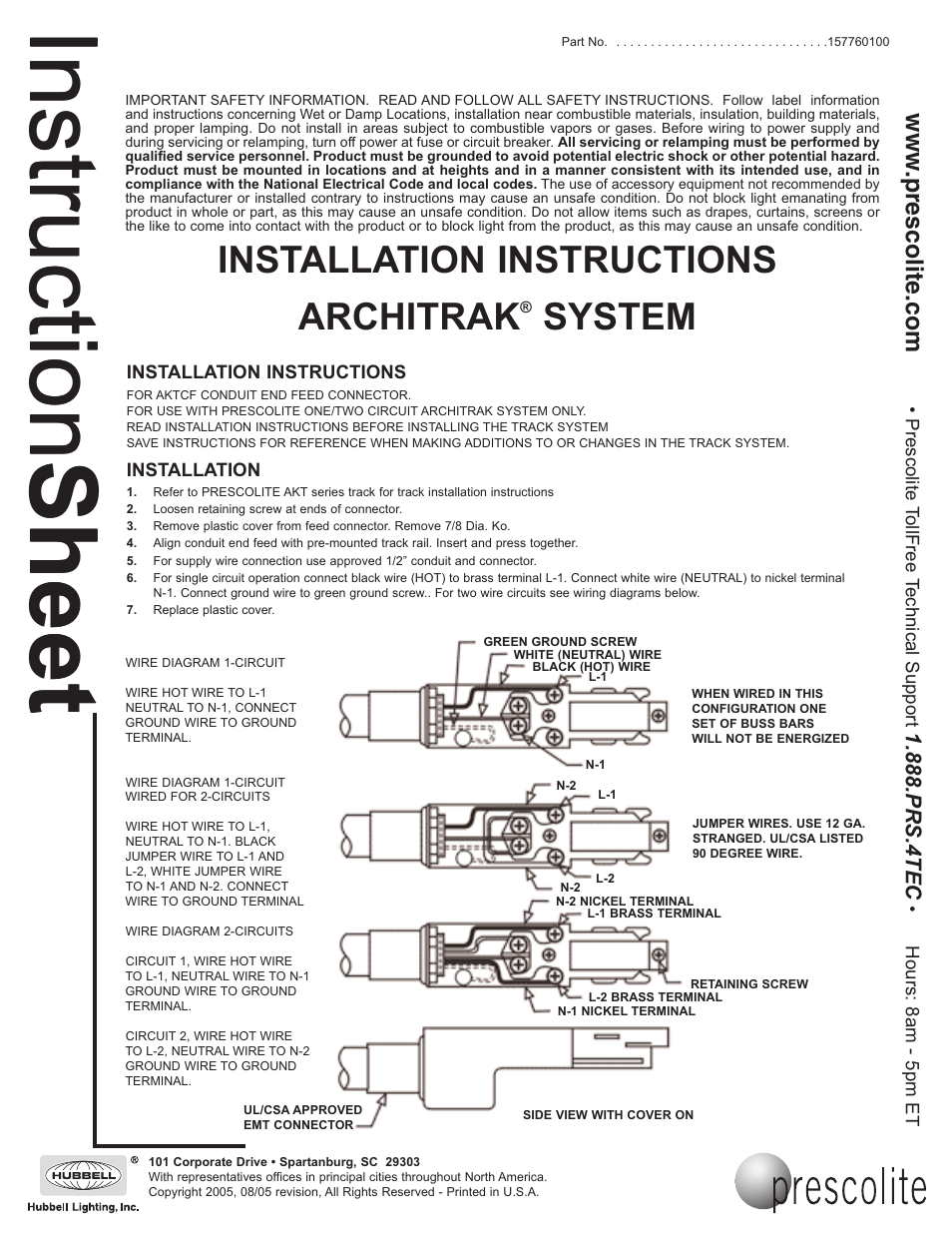 Prescolite ARCHITRAK SYSTEM AKTCF - Conduit End Joiner User Manual ...