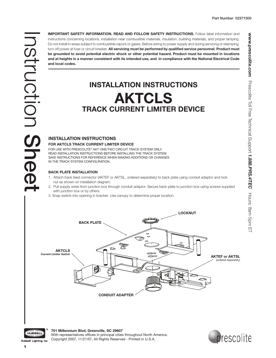 Prescolite Aktcls User Manual 3 Pages Wiring Diagram For Snap Switch