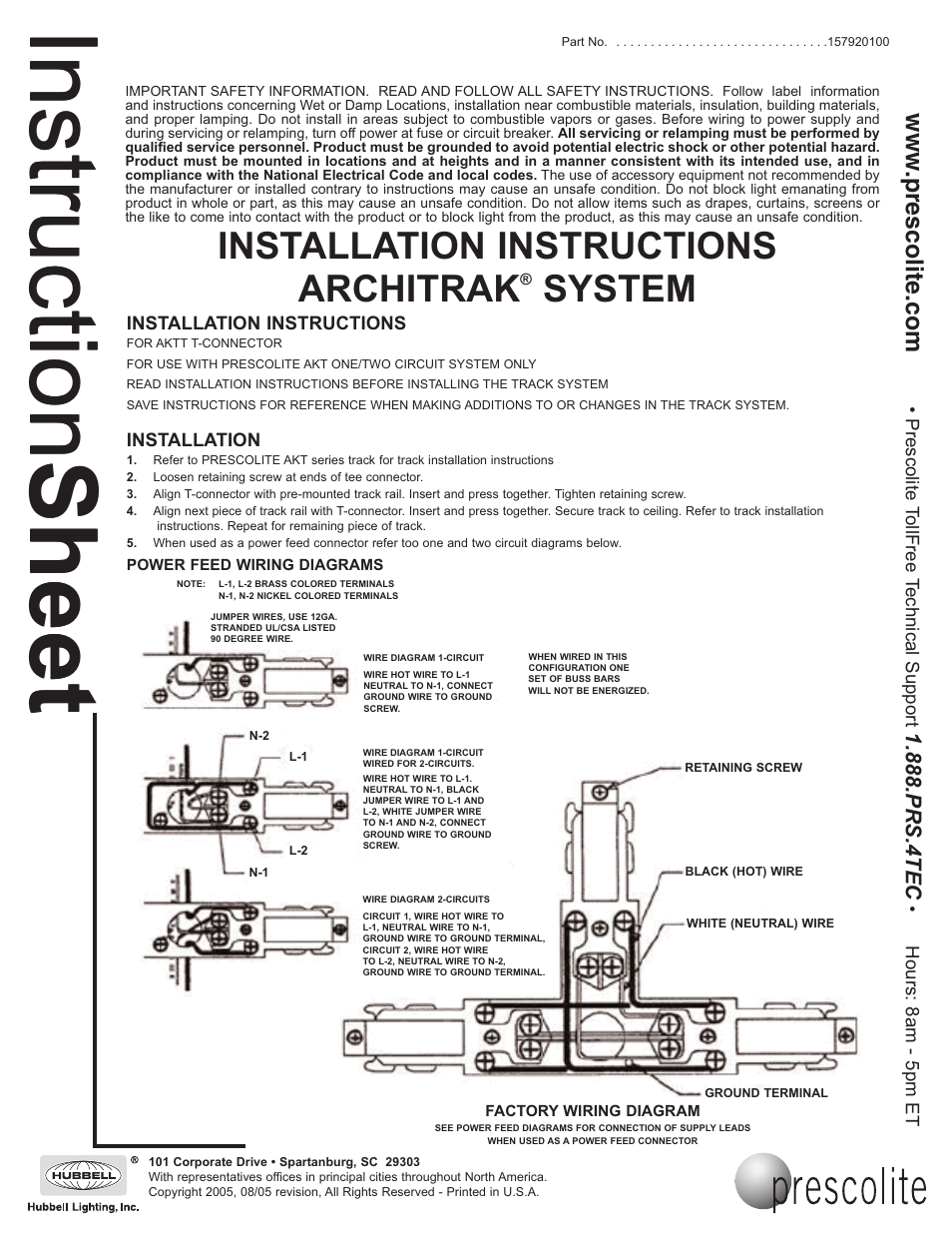 Prescolite ARCHITRAK SYSTEM AKTT - T Joiner User Manual | 1 page