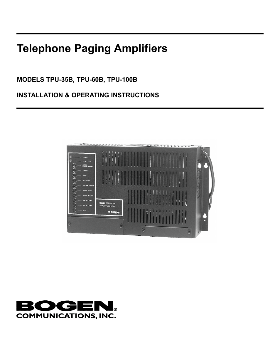 bogen tpu 35b user manual 8 pages also for tpu 100b tpu 60b rh manualsdir com Bogen Model TPU100B Bogen Amplifier Wiring