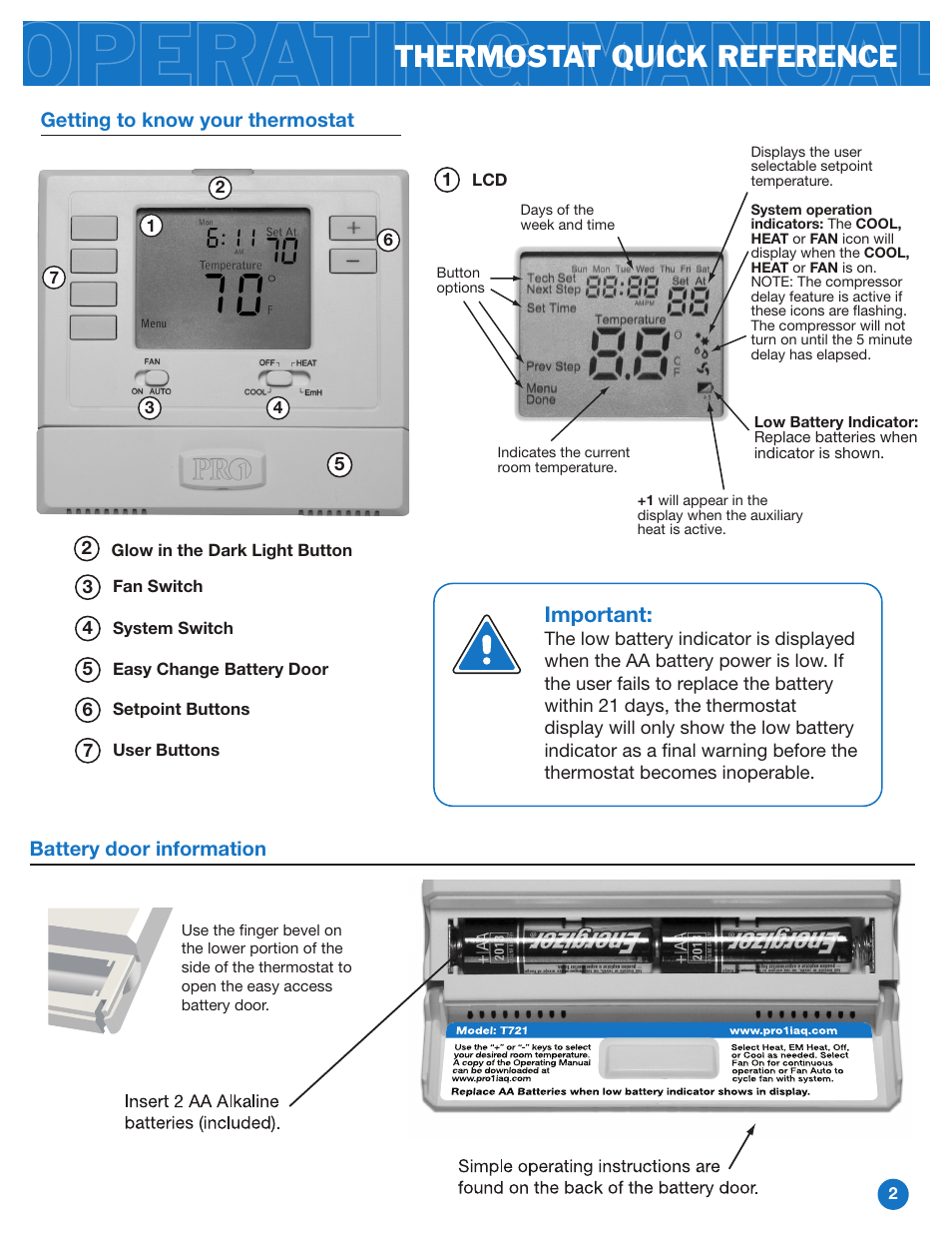 Thermostat Quick Reference  Important  Battery Door Information