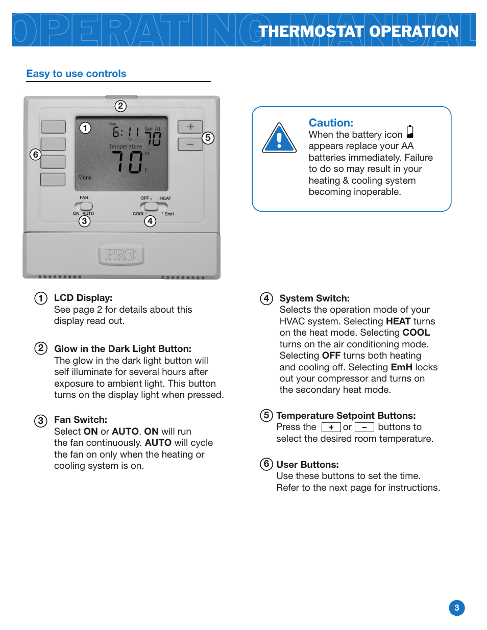 Thermostat Operation Pro1 T721 Operation Manual User Manual Page