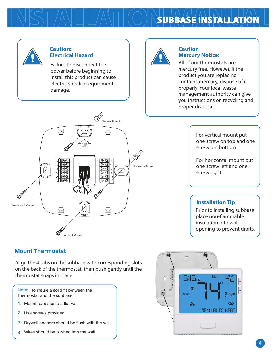Subbase Installation Pro1 T855i Installation Manual User Manual