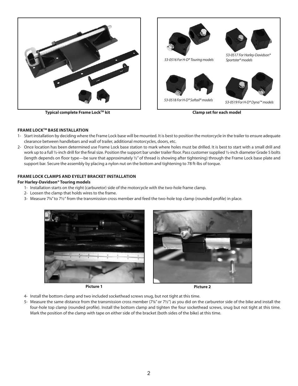 S&S Cycle Frame Lock User Manual | Page 2 / 4