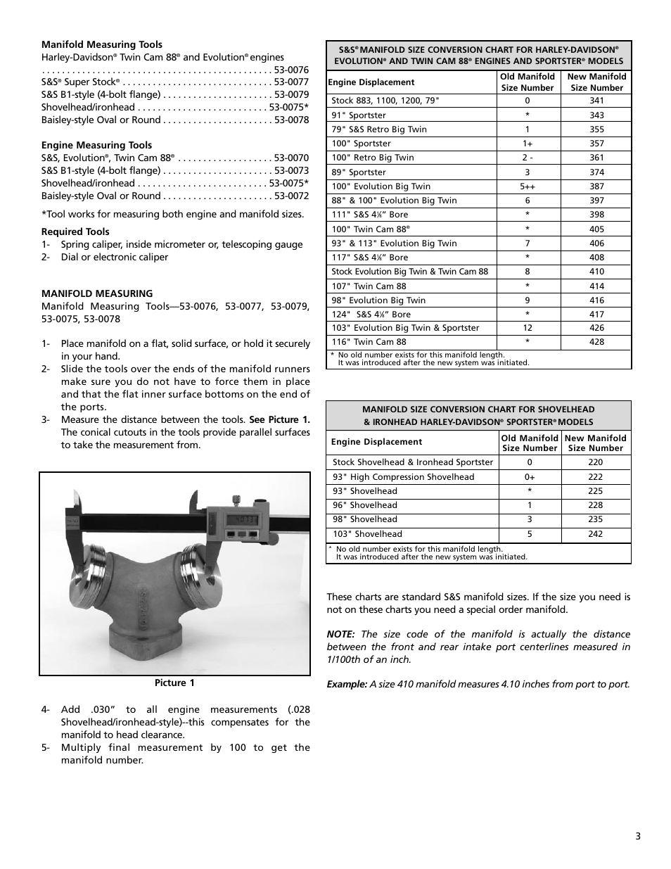 S&S Cycle Manifold/Engine Measuring Tools User Manual | Page
