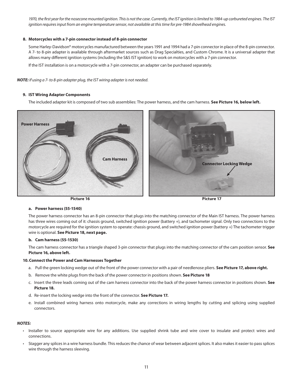 Ss Cycle Ist Ignition System For 1984 1999 Big Twin And Custom Motorcycle Wiring Harness Connectors Applications User Manual Page 11 17