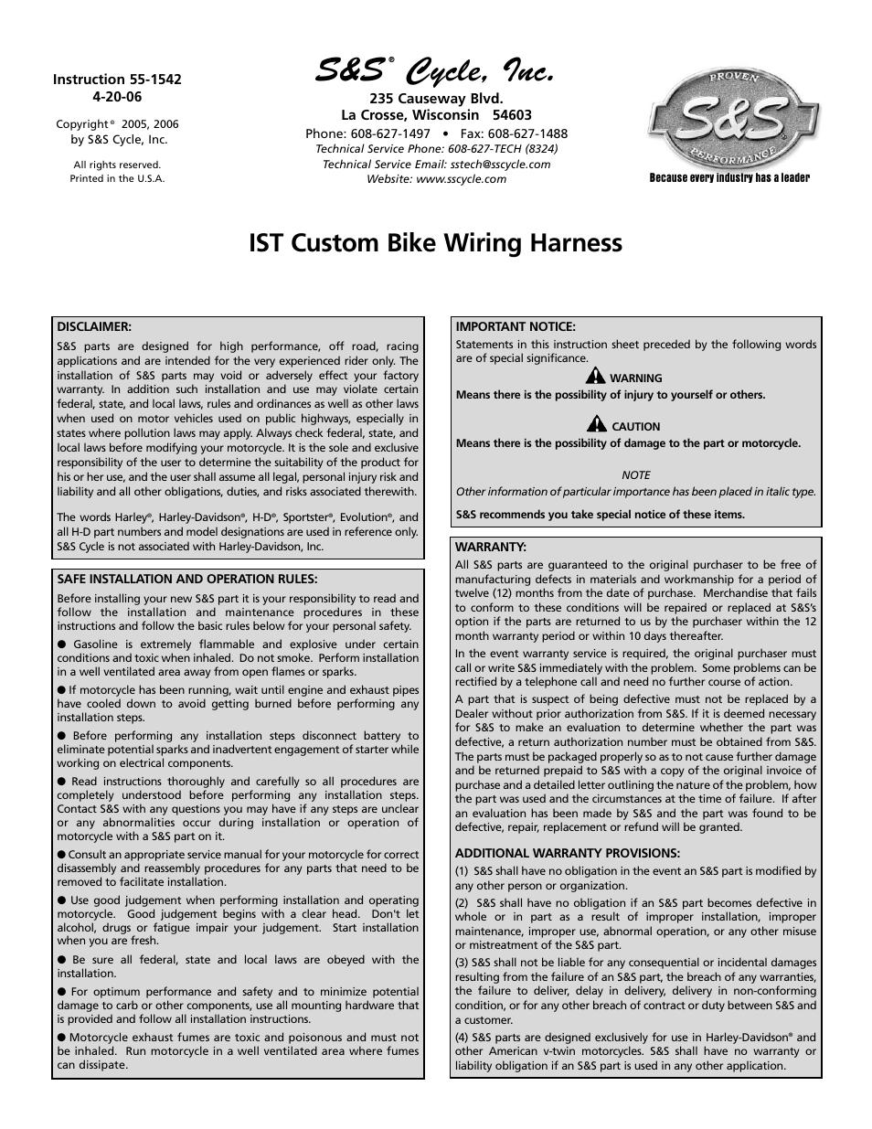 S U0026s Cycle Ist Custom Bike Wiring Harness User Manual