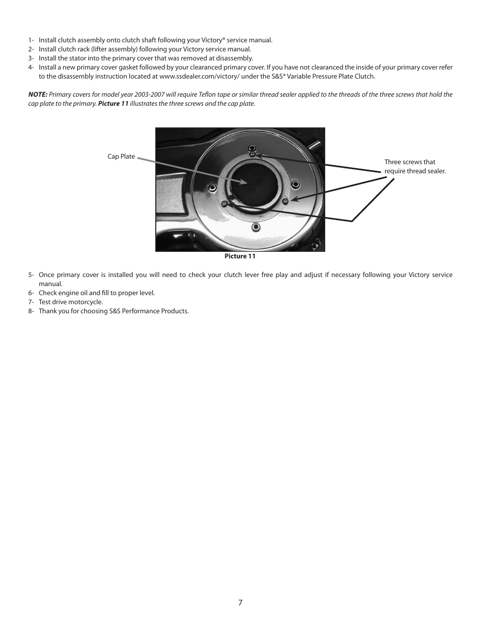 Ss Cycle Variable Pressure Plate Clutch Kit Pn 106 2843 For Victory Motorcycle Engine Diagram Motorcycles User Manual Page 7 8