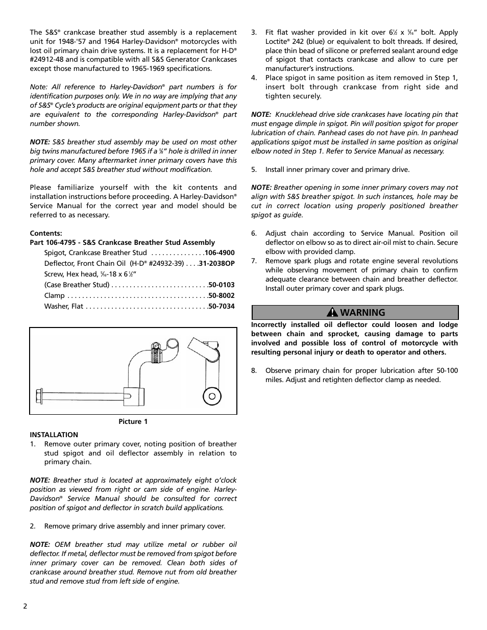 Warning Ss Cycle Crankcase Breather Stud Assembly User Manual Harley Motorcycle Engine Parts Diagram Page 2