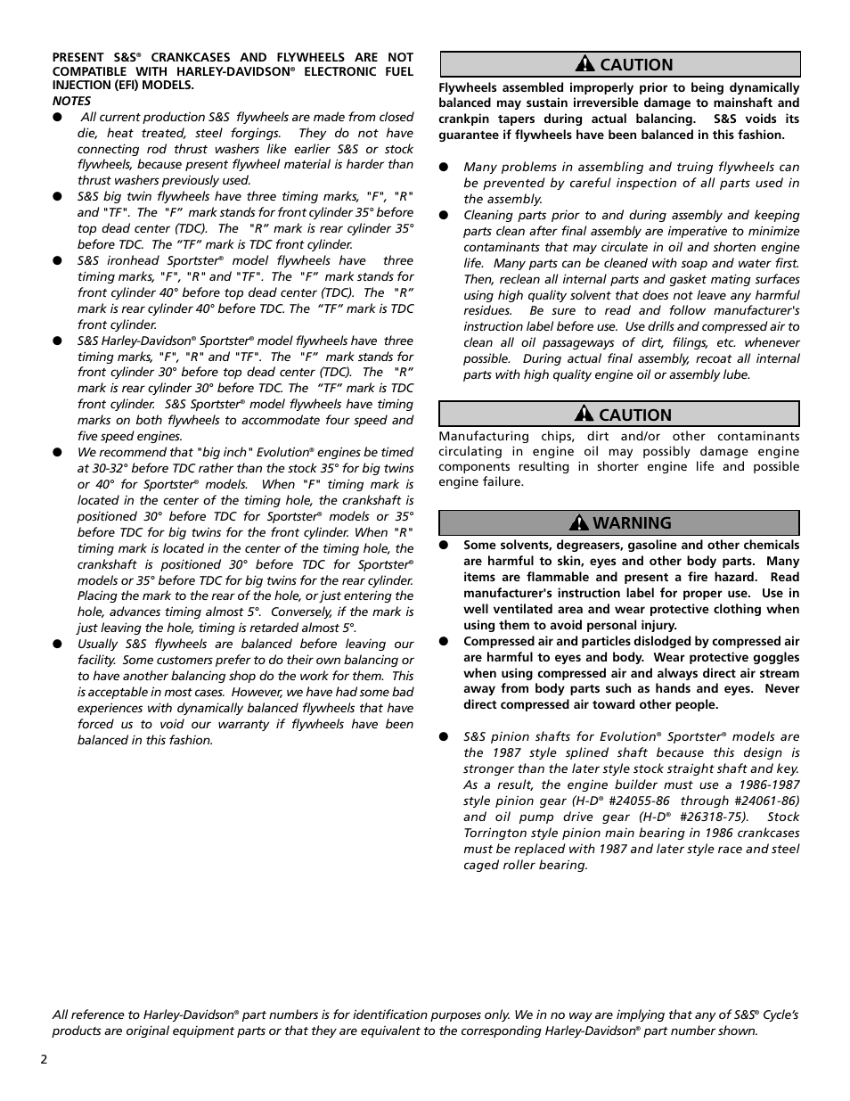 Caution, Caution warning | S&S Cycle General Flywheel User Manual