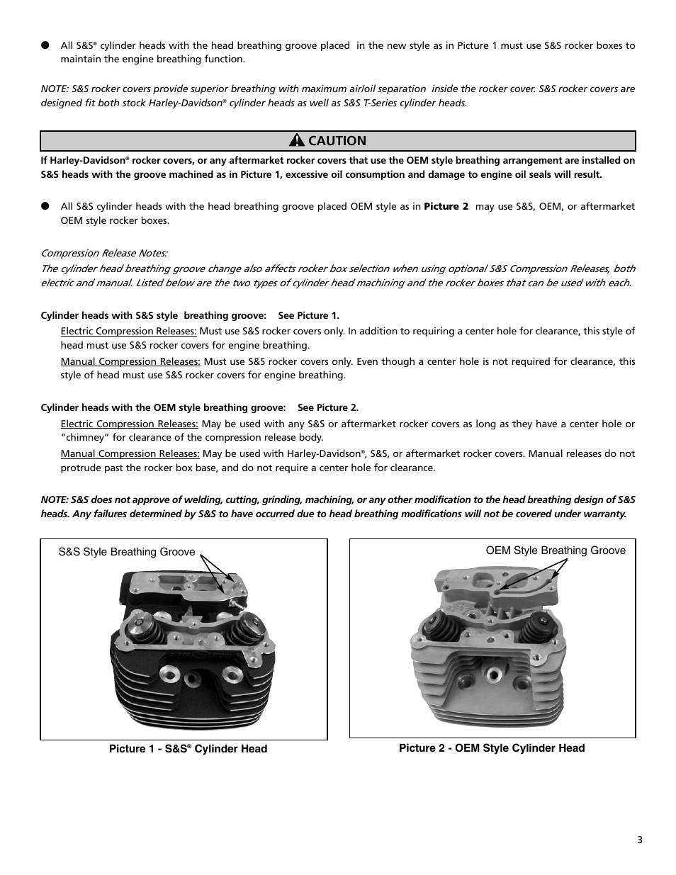 Caution | S&S Cycle Head Breathing Groove Change for S&S Super Sidewinder  Plus (SSW+) and Heads for Harley-Davidson Twin Cam 88 Models User Manual |  Page 3 ...