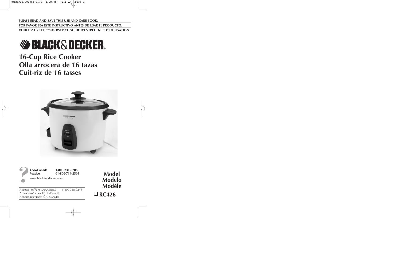 black decker rc426 user manual 15 pages rh manualsdir com black and decker rice cooker manual rc3406 black and decker rice cooker manual rc3406
