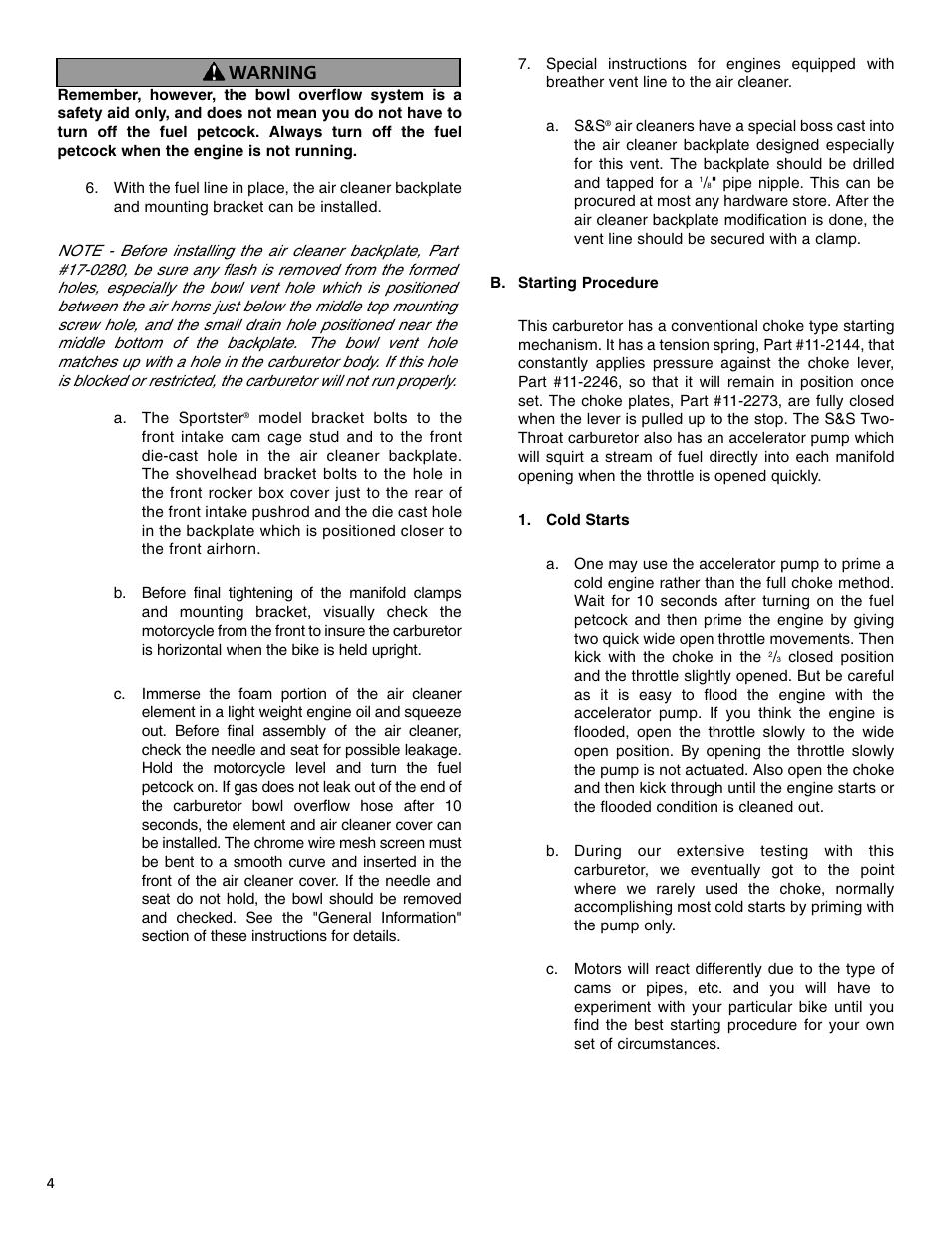 Warning   S&S Cycle TWO THROAT Carburetor (Serial E1190